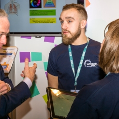 Wriggle speaking with Minister for Education & Skills, Richard Bruton TD