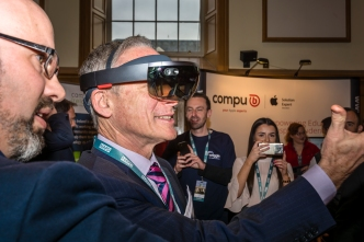 Minister for Education & Skills, Richard Bruton TD trying out VR Goggles